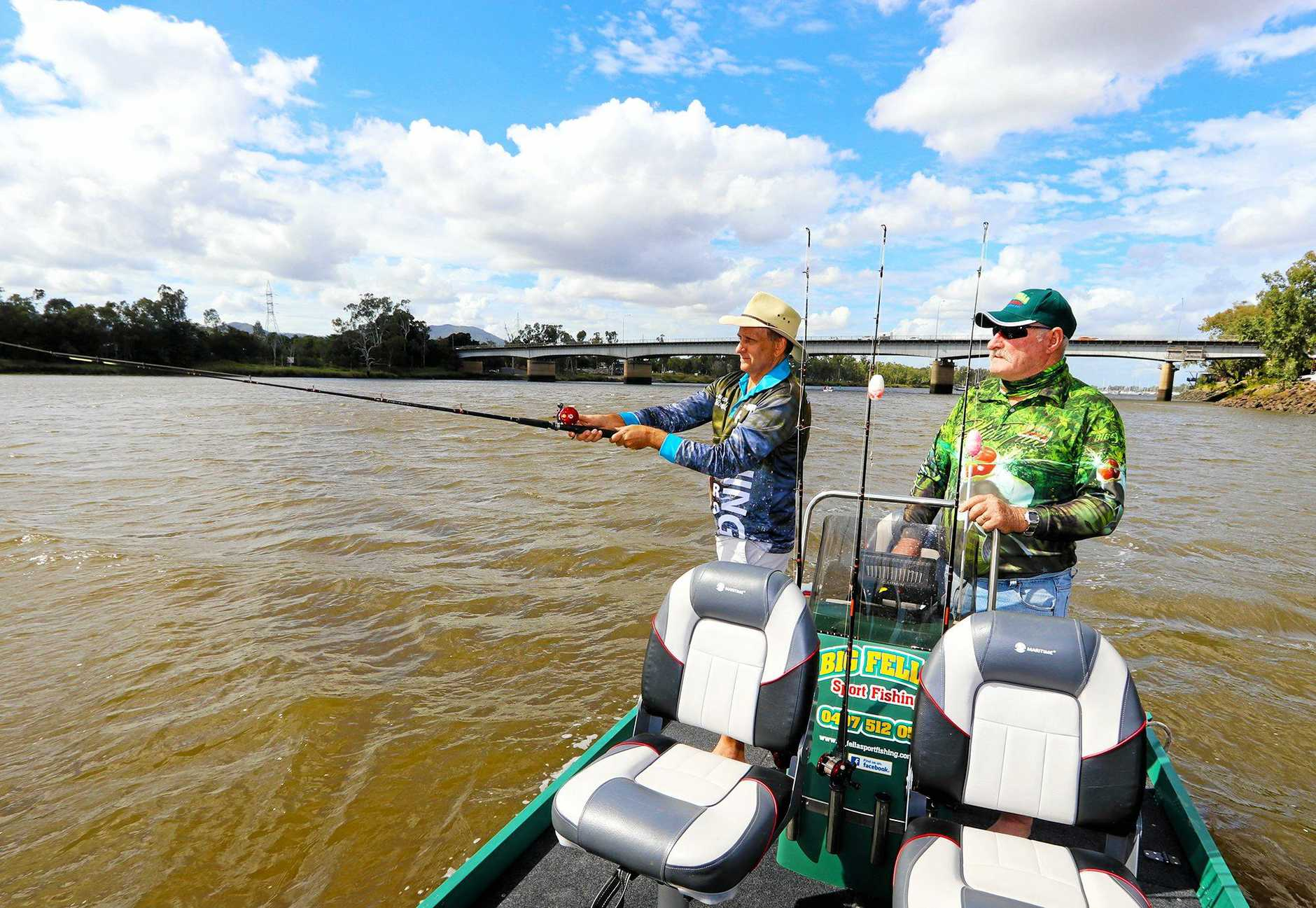 RIVER DRAWCARD: Cr Williams and Tom Dilger from Big Fella Fishing.