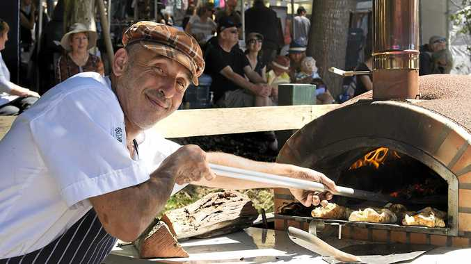 YUMMY: Zohar, from Luscious Foods in Byron Bay, kept their pizza oven busy at Sample Festival 2016.