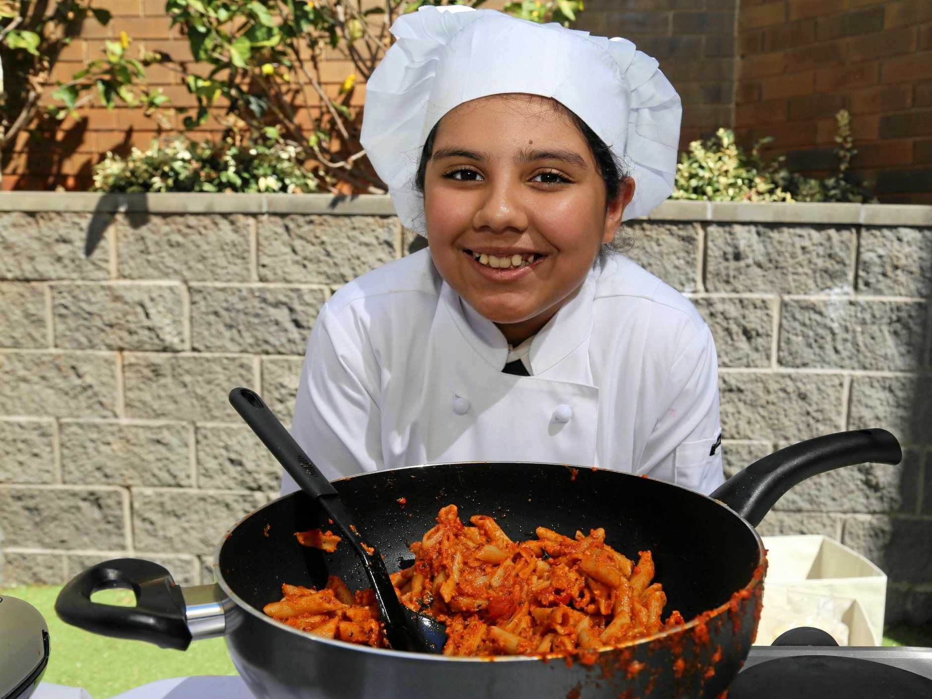 Radhapriya Bhardwaj teaches her fellow Year 6 Fairholme College students about cooking.