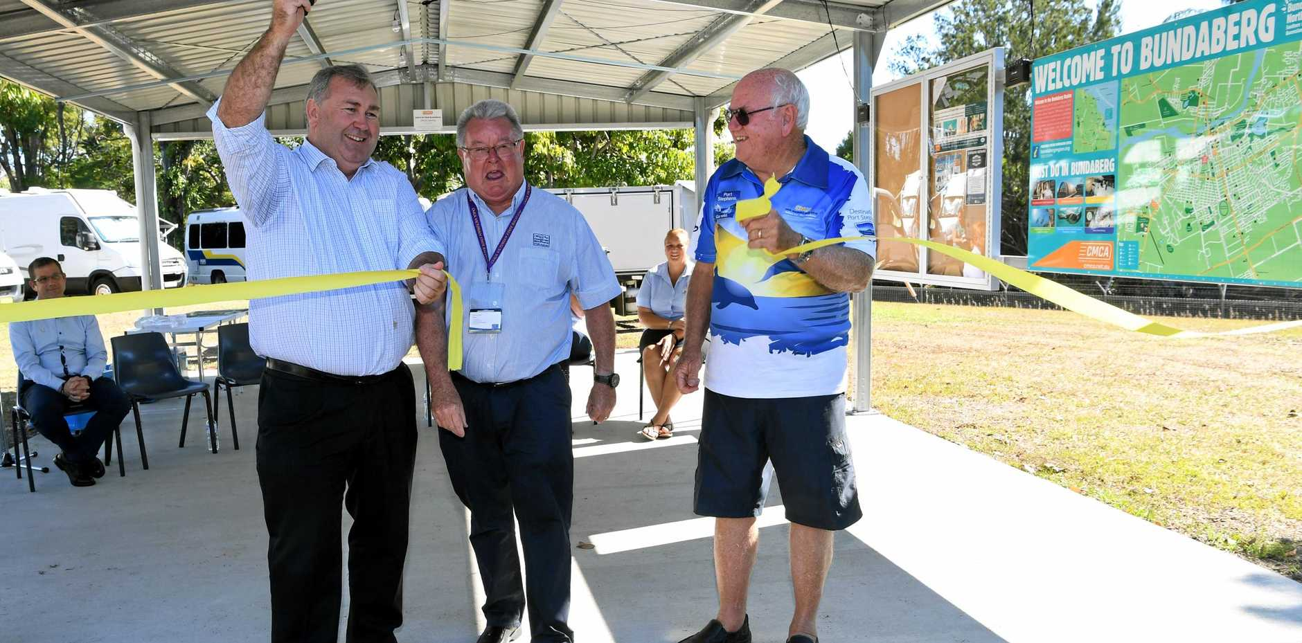 OFFICIAL OPENING: The Bundaberg CMCA RV Park was officially opened by Mayor Jack Dempsey, CMCA chairman Garry Lee and local CMCA member Arthur Bugden, the driving force behind the project.