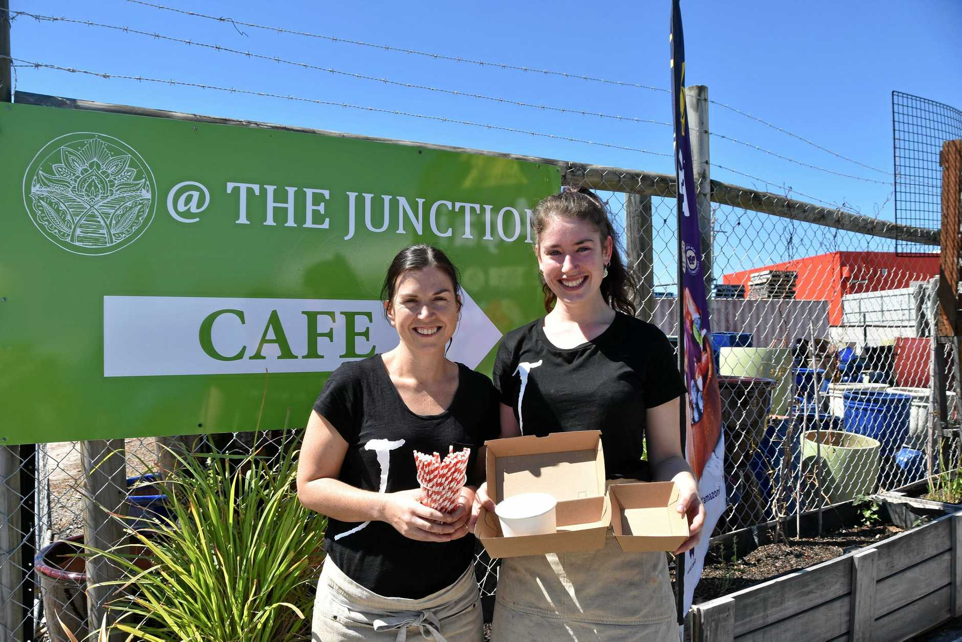 NATURE'S CARERS: The Junction Cafe owner Melissa Smart and food attendant Lanae Jarrett are going environmentally friendly with paper straws and recyclable food containers.