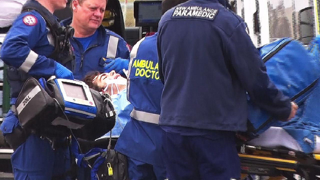 A 15-year-old boy was airlifted to hospital in a critical condition. Picture: TNV
