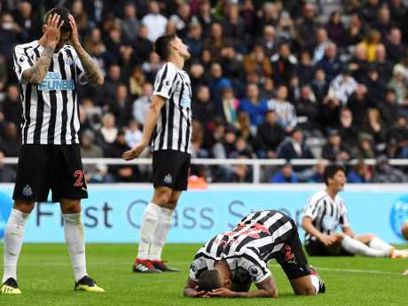 Newcastle United players dejected following the own goal. Picture: Getty Images