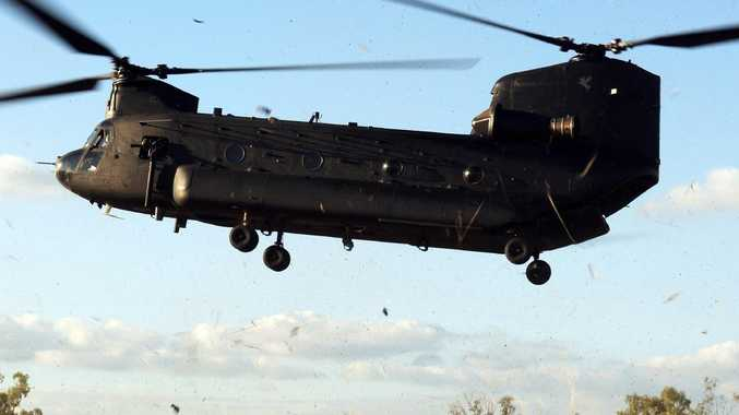 An Australian Army CH-47 Chinook helicopter from the 5th Aviation Regiment coming to land.