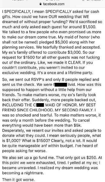 She really didn't get why people didn't want to give them $1500. Picture: Reddit