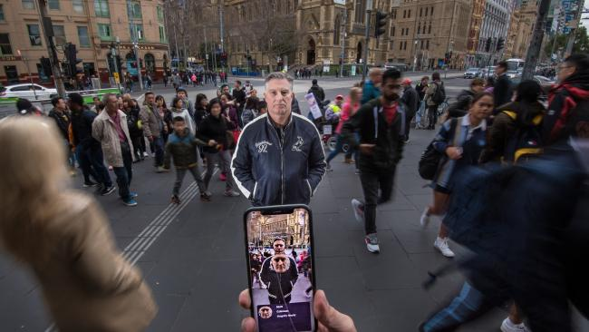 A new app recognises Mat Coleman in a crowd outside Flinders St Station. Picture: Jason Edwards
