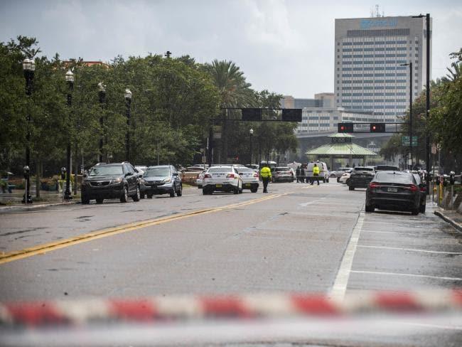 Police barricade a street near Jacksonville Landing in Jacksonville, Florida. Picture: AP