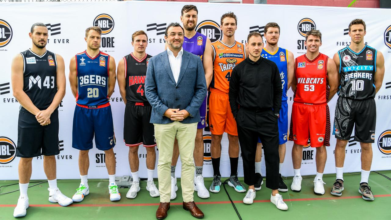 NBL CEO Jeremy Loeliger (front left) and Justin Kestelman (front right). Picture: AAP