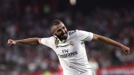 Real Madrid's Karim Benzema celebrates.
