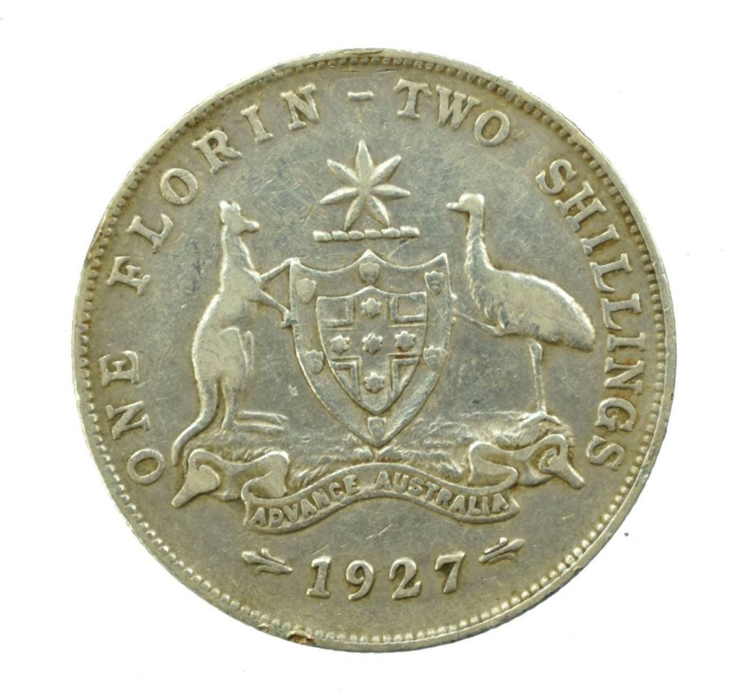 One of the coins - a 1927 silver florin - found during construction of the Toowoomba Second Range Crossing.