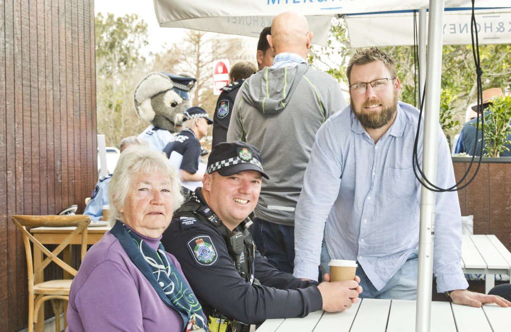 At the inaugural Coffee With a Cop are Cherryl Gilchrist, Senior Constable Stuart Standeaven and Kevin White of Milk and Honey Expresso Bar.