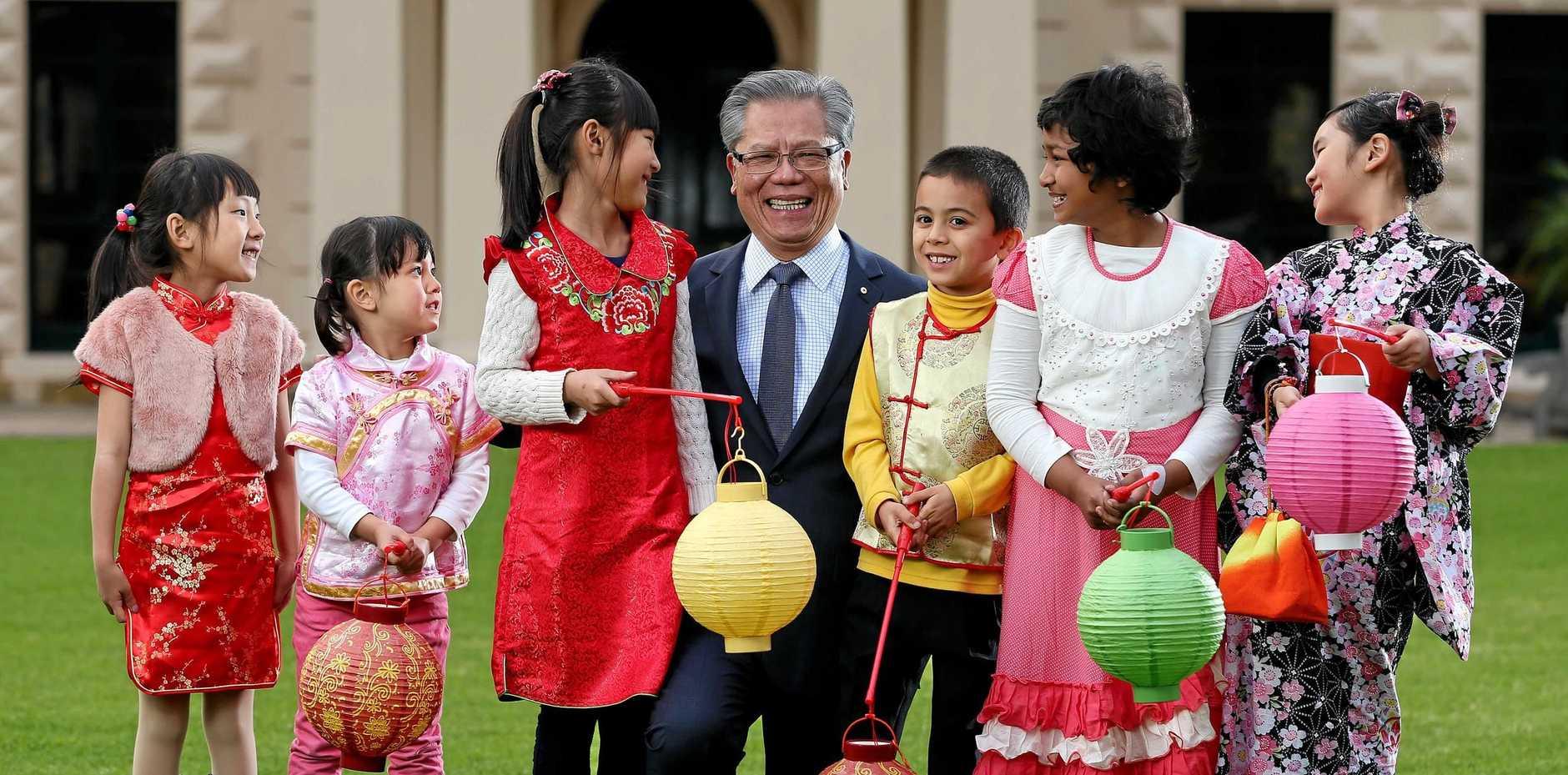 South Australian Governor and Patron of OzAsia Festival Mr Le with Tina Wang, Rui Love, Alice Li, Tian Love, Payel Rahman and Kylie Oyama.