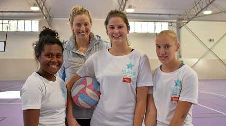 Laura Geitz with Michelle Bobby, Grace Taylor and Chloe Harm at the All Stars Netball Clinic held on Tuesday, August 21 at Lockyer District High School.