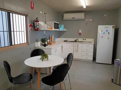 NEW DIGS: The new RFDS hangar at Gladstone Airport includes office, lounge and kitchen facilities.