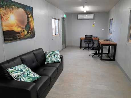The new RFDS hangar at Gladstone Airport includes office, lounge and kitchen facilities.