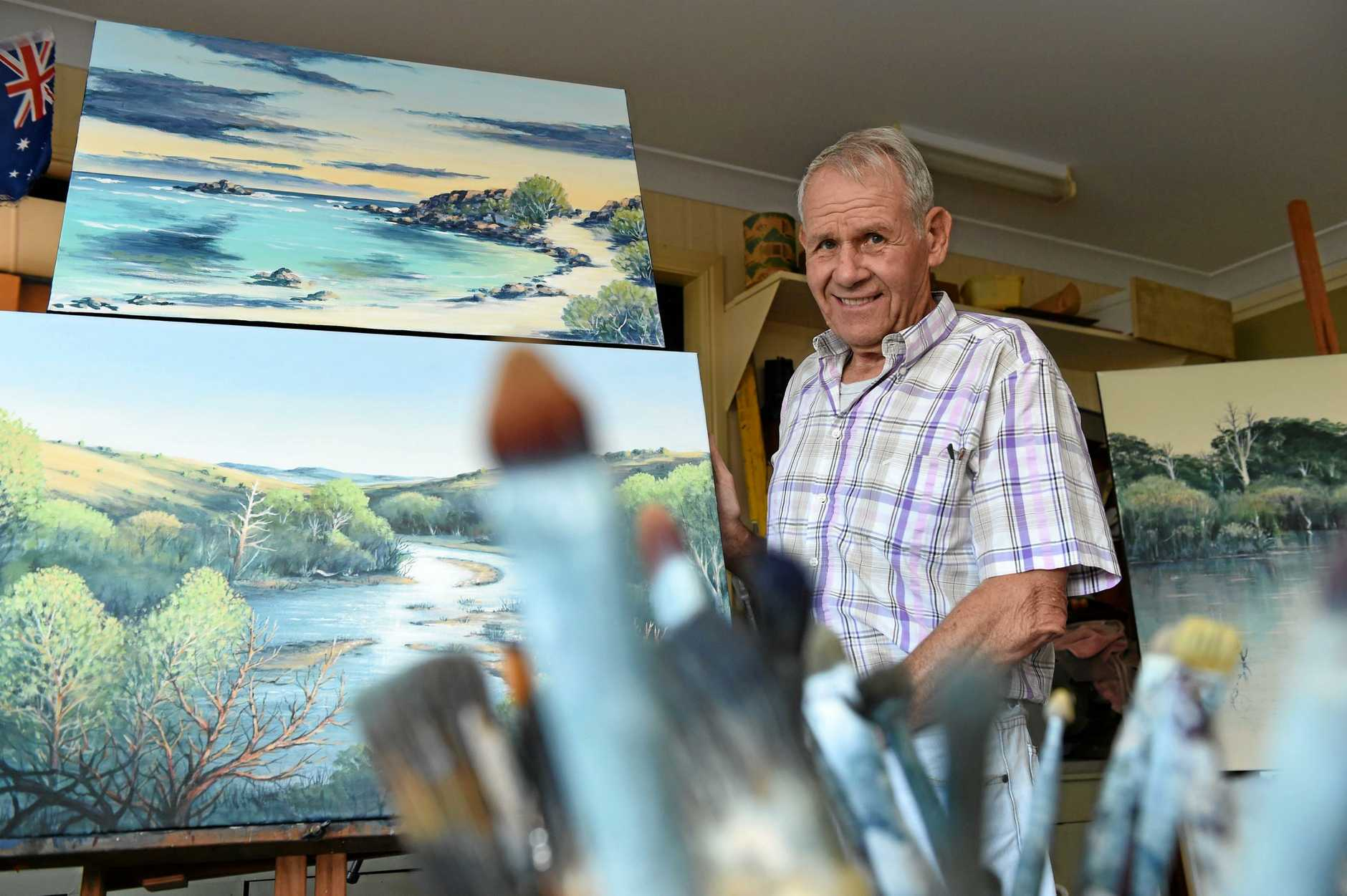 Story of - 77 year old Rolf Sieber showcasing some of his award winning artwork.
