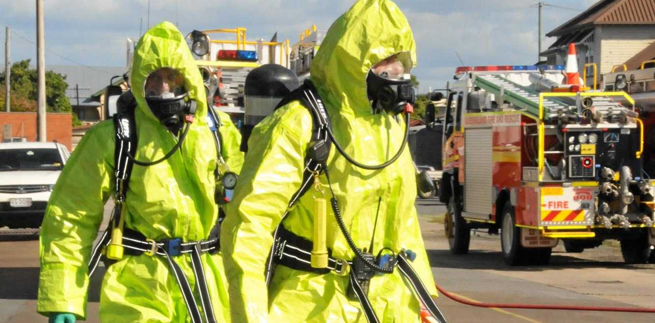 Parts of Sunshine Beach State High School have been sectioned off following an acid spill.