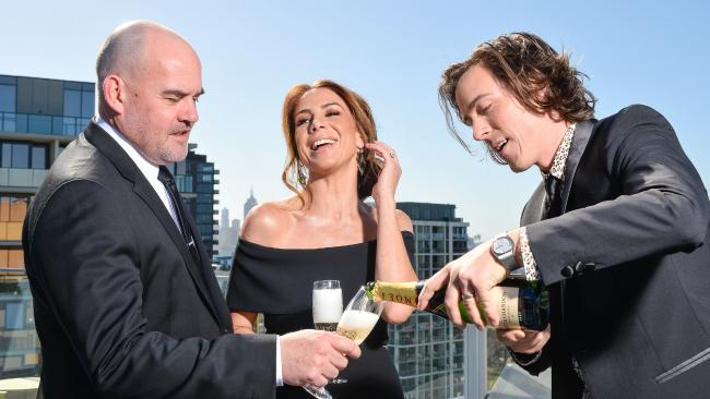 Nova drive crew Marty Sheargold, Kate Ritchie and Tim Blackwell celebrate after another ACRA win. Picture: Eugene Hyland