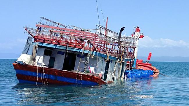 A fishing boat that allegedly brought illegal immigrants into Queensland waters. Picture: Port Douglas Marine Rescue/AFP
