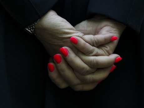 Julie Bishop's hands during her press conference at Parliament House. Picture: Lukas Coch/AAP