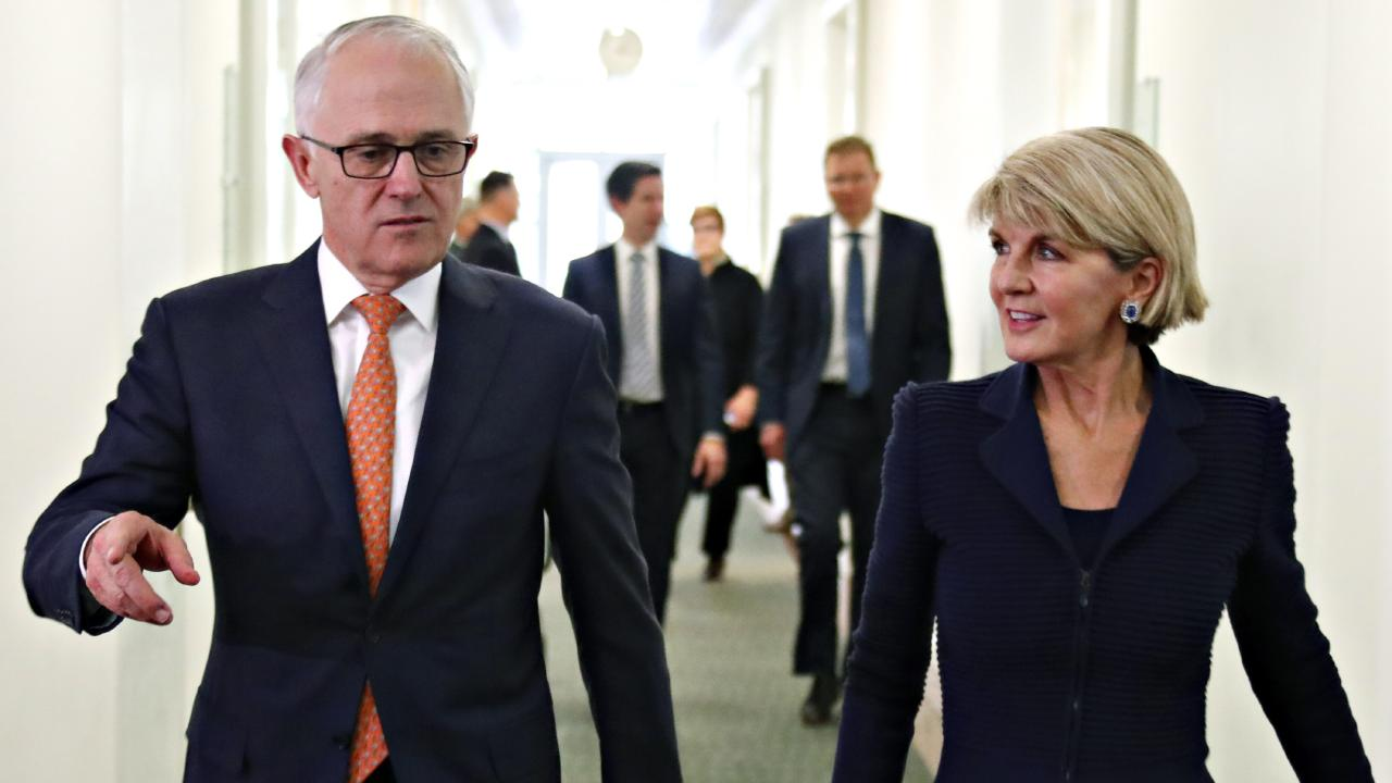 Malcolm Turnbull with Julie Bishop in Canberra last week. Picture: David Gray/AP
