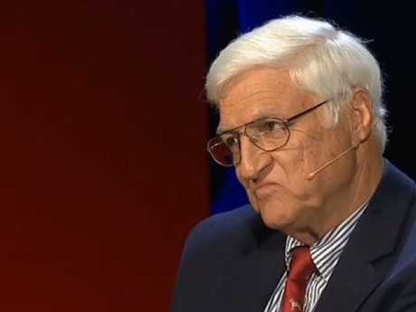 Bob Katter staring daggers after an audience member questioned his family history. Picture: ABC