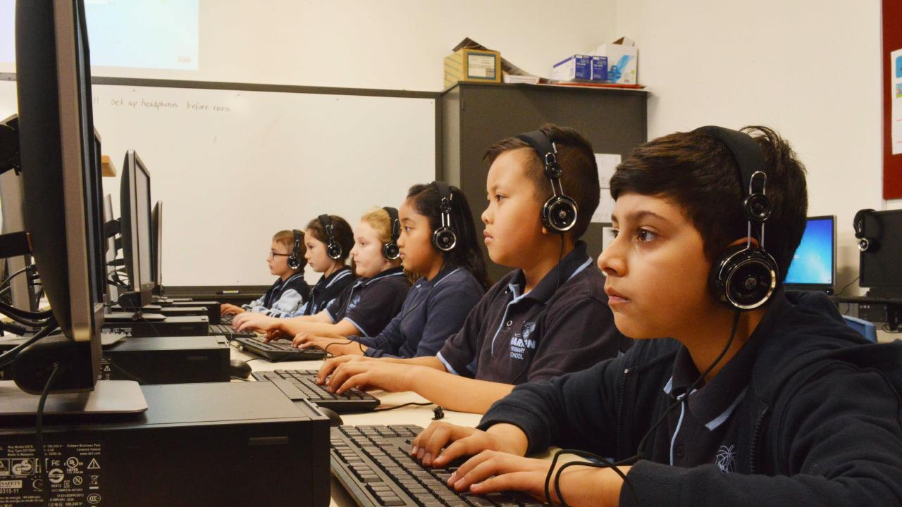 Marion Primary School year three students practising for NAPLAN. 140 schools sat the NAPLAN tests online for the first time. Picture: AAP Image/Brenton Edwards