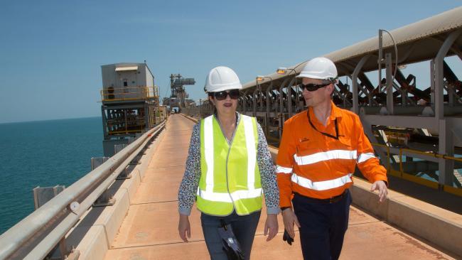Queensland Premier Annastacia Palaszczuk and Rio Tinto CEO Jean-Sebastien Jacques visit visit Amrun mine development on Western Cape York Peninsula on Tuesday.