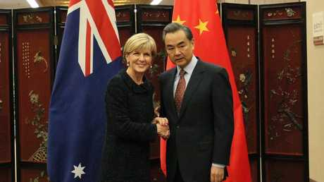 Julie Bishop meets with the Chinese minister of foreign affairs Wang Yi at the Ministry of Foreign Affairs in Beijing, China, in 2016.