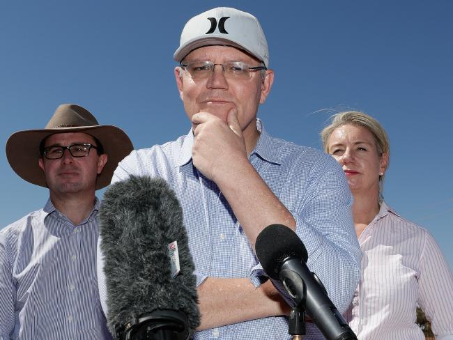 Prime Minister Scott Morrison speaks to the media during a regional tour of the Tully property in Quilpie in south west Queensland yesterday. Picture: AAP Image/Alex Ellinghausen