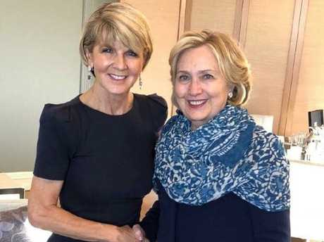 Ms Julie Bishop when she met Hillary Clinton in Sydney. We'll miss you being front and centre, J-Bish.