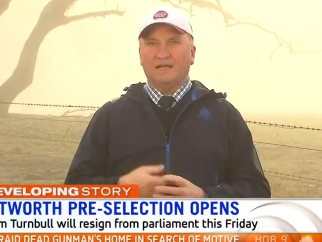Barnaby Joyce has slammed Malcolm Turnbull's exit from Parliament. Picture: Sunrise