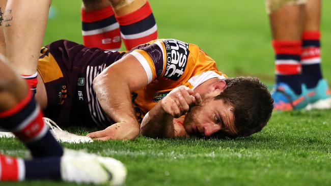 Andrew McCullough was knocked out after a controversial hit from Dylan Napa. Picture: Getty Images