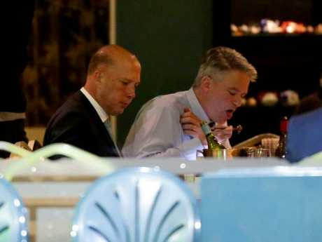 Peter Dutton and his most senior ally in the coup, Mathias Cormann, were out at dinner in Canberra on Thursday instead of working the phones. Picture: Jonathan Ng
