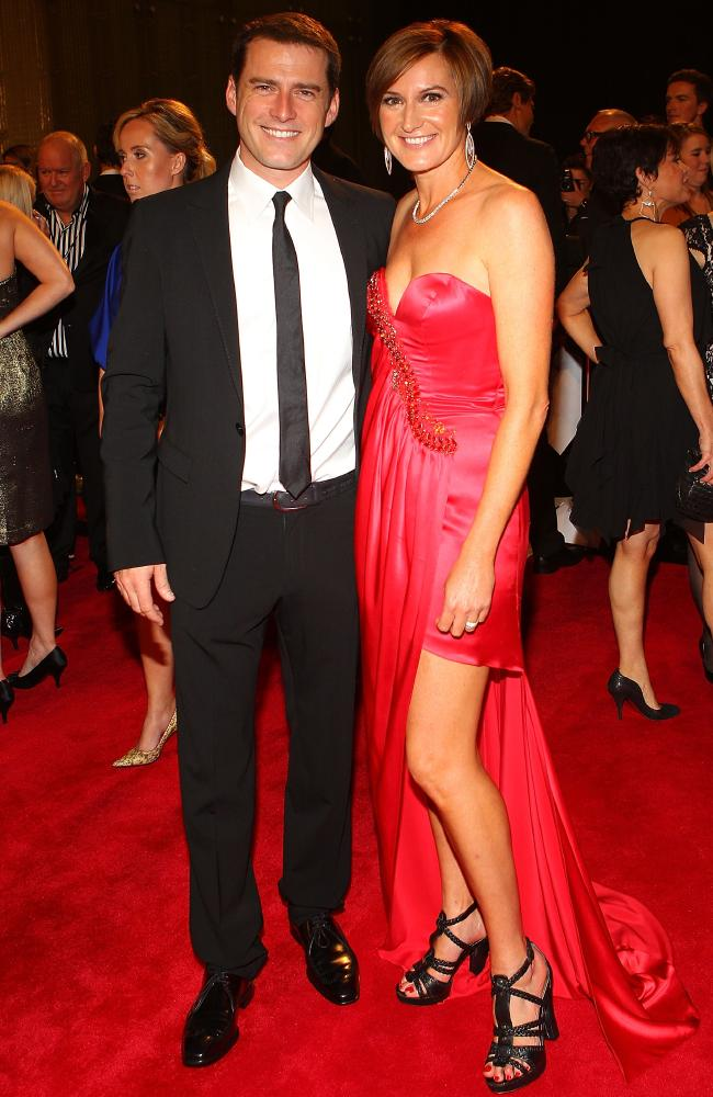 Karl Stefanovic and his ex-wife Cassandra Thorburn on the red carpet at the 2011 Logie Awards. Picture: Getty