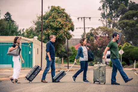 Vanessa Guide, Eddie Izzard, Emily Taheny and Luke McKenzie in a scene from The Flip Side.