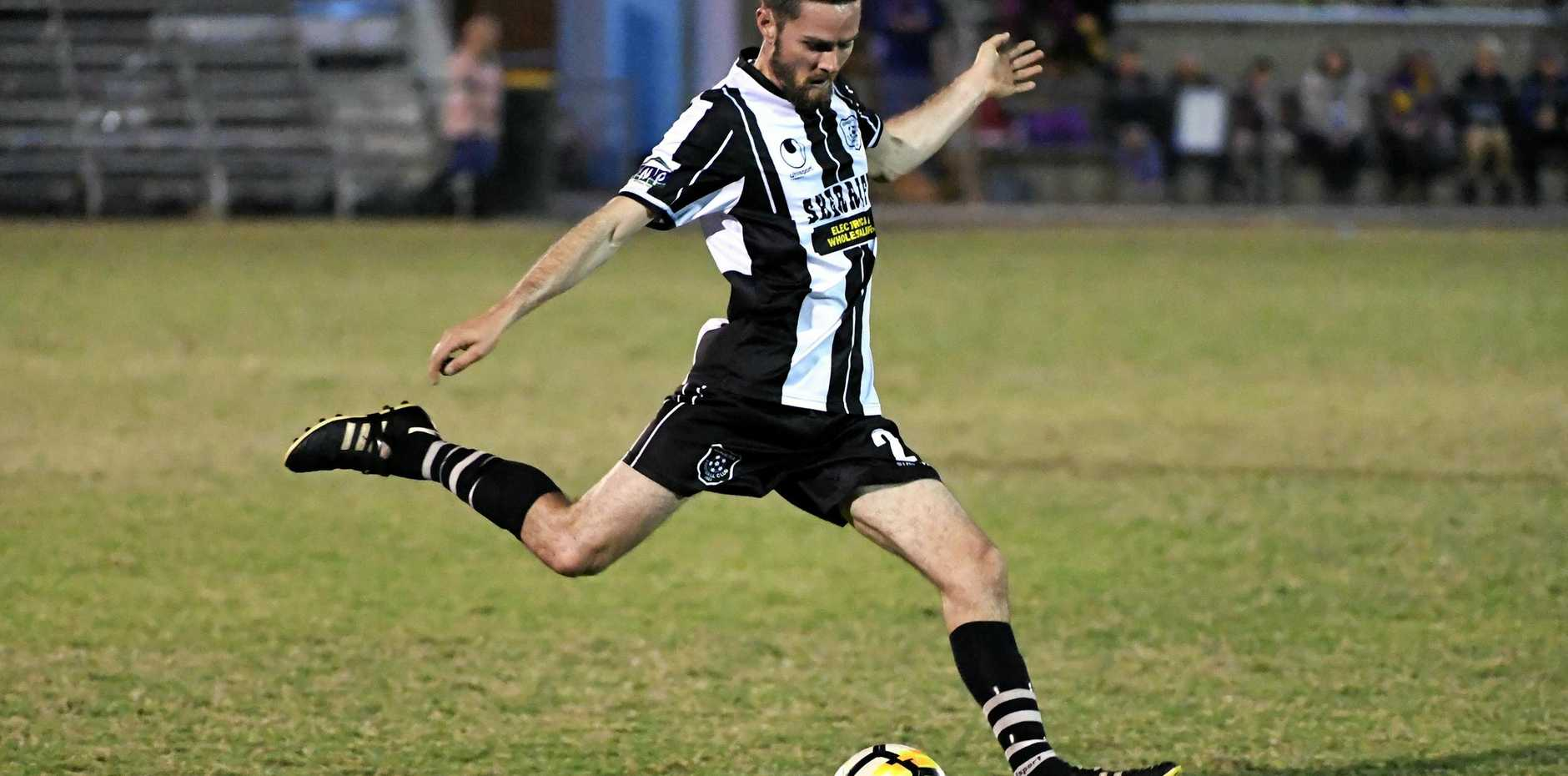 ON TOP: Scott Mcewan in action for minor premiers Bingera who will be hoping to win the right to host the Wide Bay Premier League grand final.