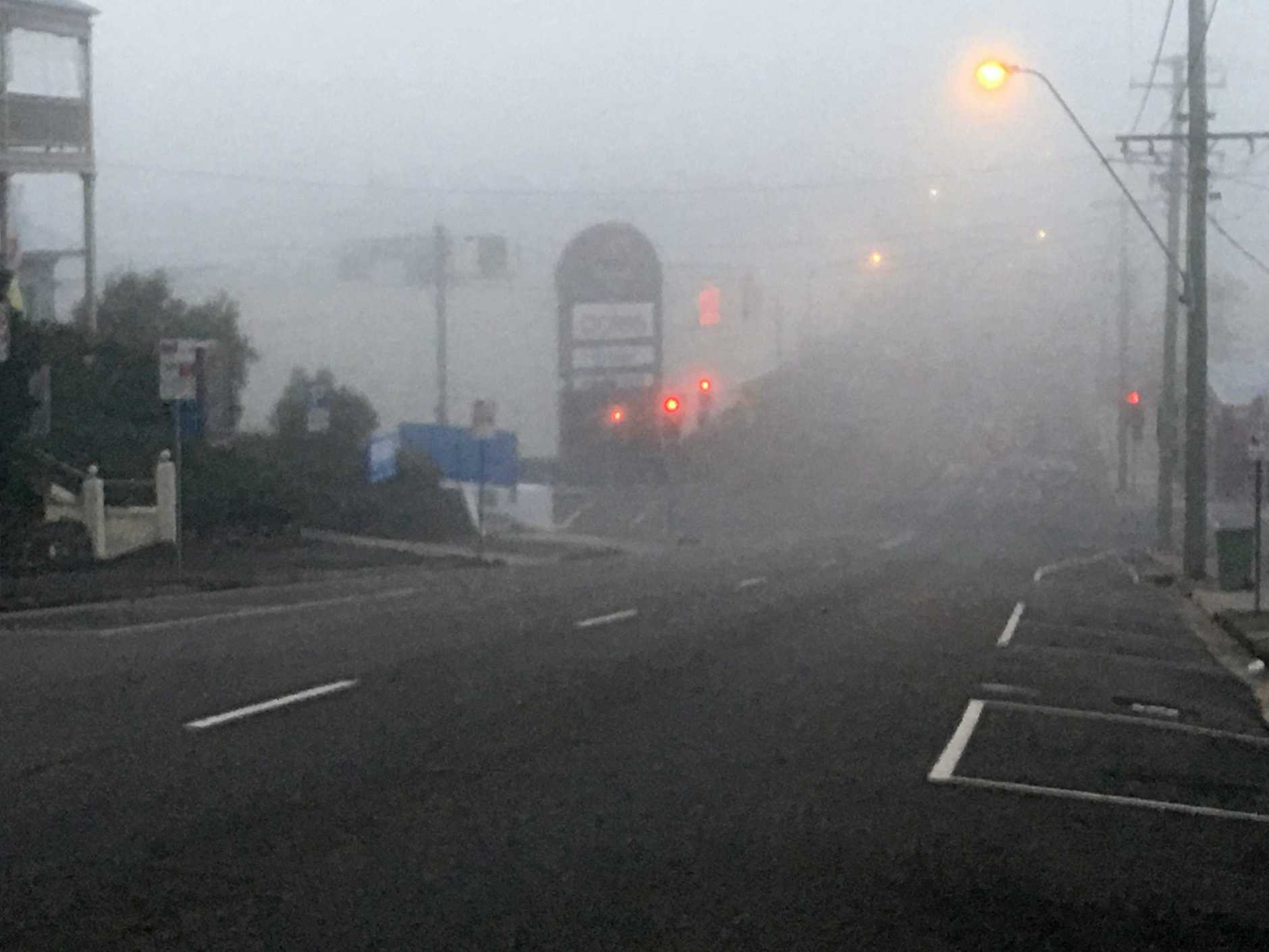 Photo taken on Nash Street at 6:30am shows thick fog hit the Gympie region.