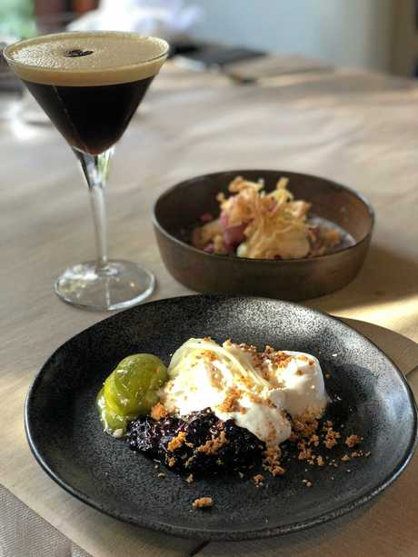 Soft coconut pudding, sticky black rice, apricot and Thai basil sorbet, gingerbread, peanut, finger lime at Tamarind Restaurant.