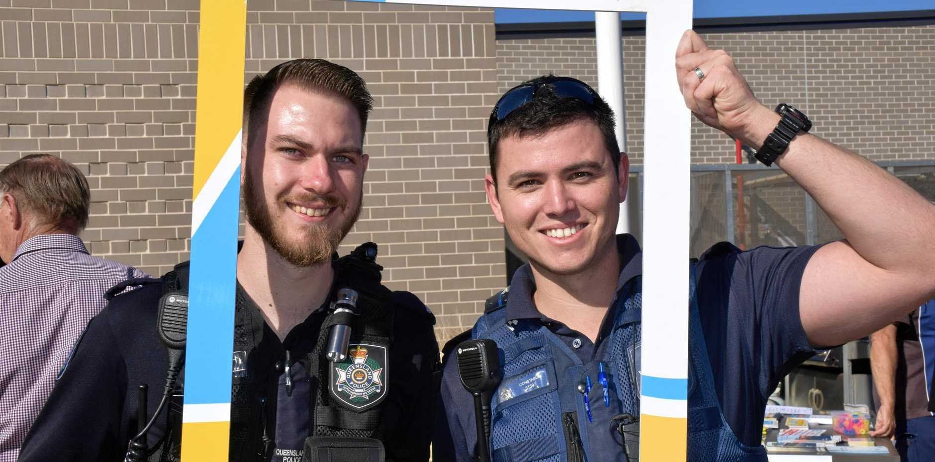 SNAPPED: Constables Rhys Golinksi and Rhys Everitt from Kingaroy Police pose to raise awareness for road safety week.