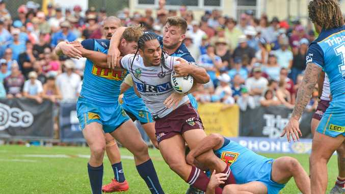 Martin Taupau takes the ball forward for Manly Sea Eagles against Gold Coast Titans at Marley Brown Oval on April 8.