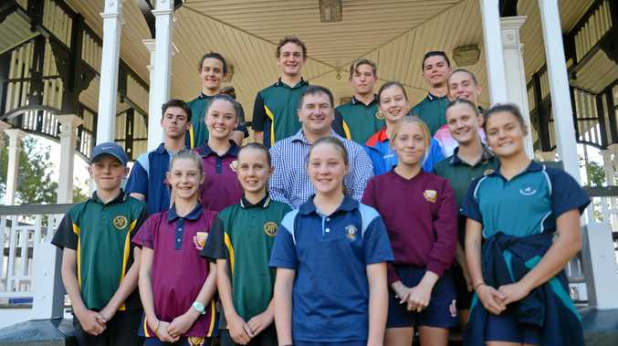 CHAMPS RECOGNISED: Llew O'Brien (centre)  proud to announce Gympie's sporting stars receiving the Local Sporting Champions grants. Back (left to right): Ryan Johns, Troy Carlson, Thomas Fea and Nathan Tomlinson. Middle (left to right): Callum Edwards, Jorja Kirsopp, Lillianne Chambers and Breanna Pearce. Front (left to right): Lachlan Wilton, Lilly Stubbins, Hannah Wilcox, Amelia Garner, Brooklyn Warren, Jess Wilcox and Molly Hodgson. Absent: Scott McPake.