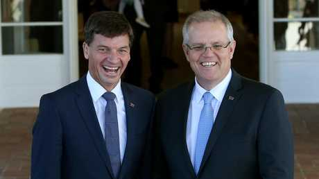 Minister for Energy Angus Taylor joins PM Scott Morrison in the cabinet swearing-in ceremony at Government House, Canberra. Picture: Kym Smith