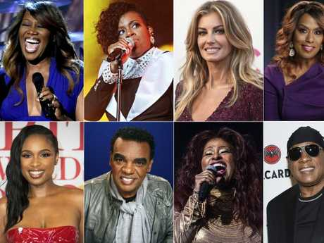 This combination photo shows, top row from left, Yolanda Adams, Fantasia, Faith Hill and Jennifer Holliday, and bottom row from left, Jennifer Hudson, Ron Isley, Chaka Khan and Stevie Wonder, who will perform at Aretha Franklin's funeral. Picture: AP