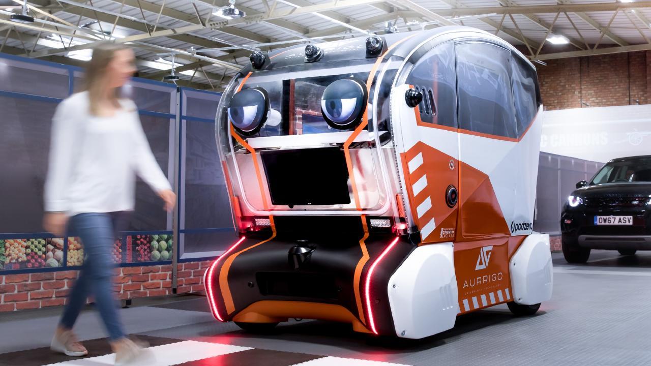 Land Rover's virtual eye pod is designed to build trust of autonomous vehicles.