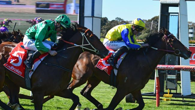 Extra Brut holds off Prince of Caviar at Sandown Hillside. Picture: Getty Images