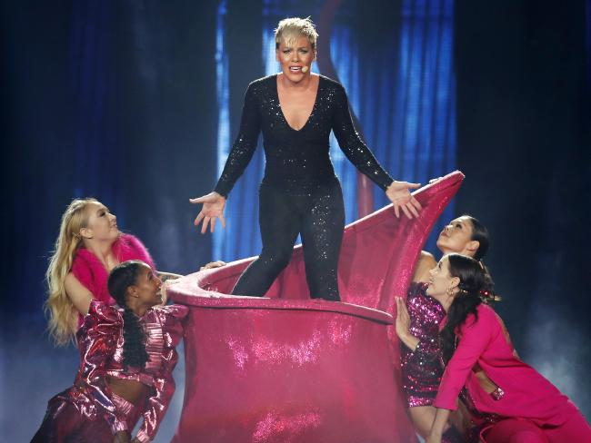 Pink pictured performing during her Australian leg of her Beautiful Trauma tour at the Brisbane Entertainment Centre. Picture: AAP