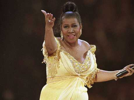 Singer Aretha Franklin performs at the inaugural gala for President Bill Clinton in Washington. Picture: AP