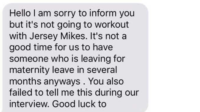 A US woman was fired via text message after telling her boss she needed to take maternity leave. Picture: Facebook
