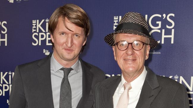 Director Tom Hooper and Geoffrey Rush from The King's Speech.